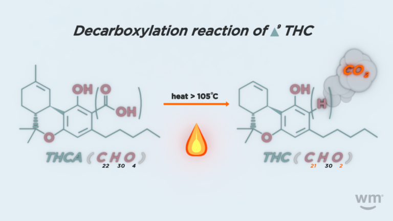Decarboxylation of weed THCA to THC